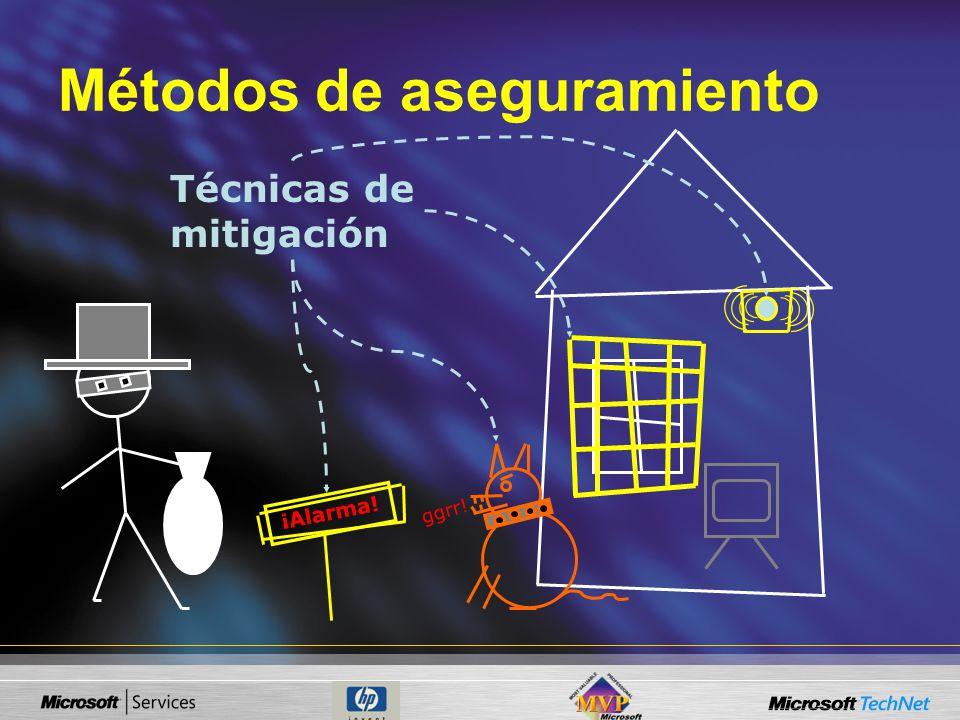 Técnicas de mitigación ¡Alarma! ggrr! Métodos de aseguramiento