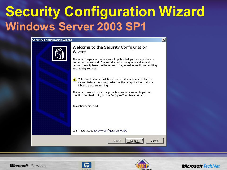 Security Configuration Wizard Windows Server 2003 SP1