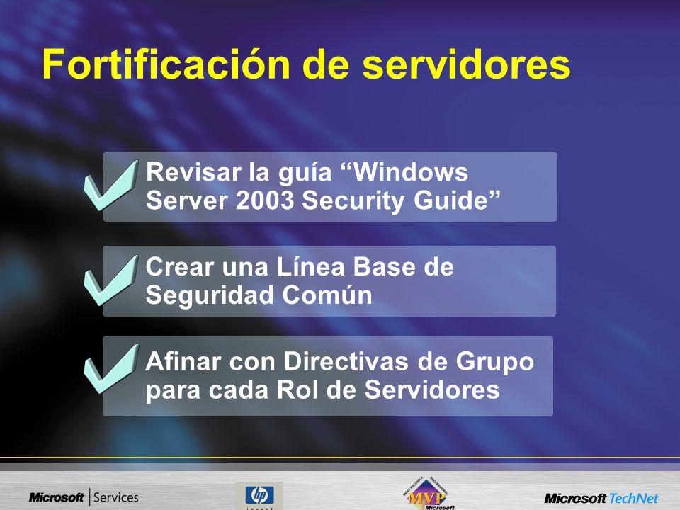 Revisar la guía Windows Server 2003 Security Guide Afinar con Directivas de Grupo para cada Rol de Servidores Crear una Línea Base de Seguridad Común Fortificación de servidores