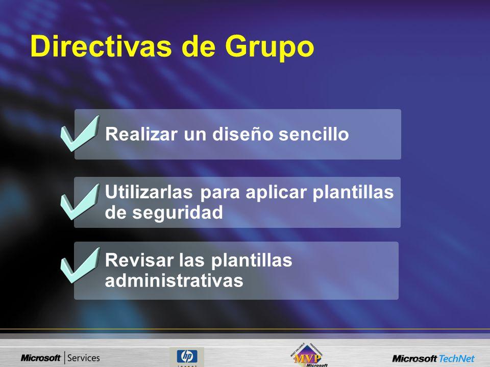 Realizar un diseño sencillo Revisar las plantillas administrativas Utilizarlas para aplicar plantillas de seguridad Directivas de Grupo