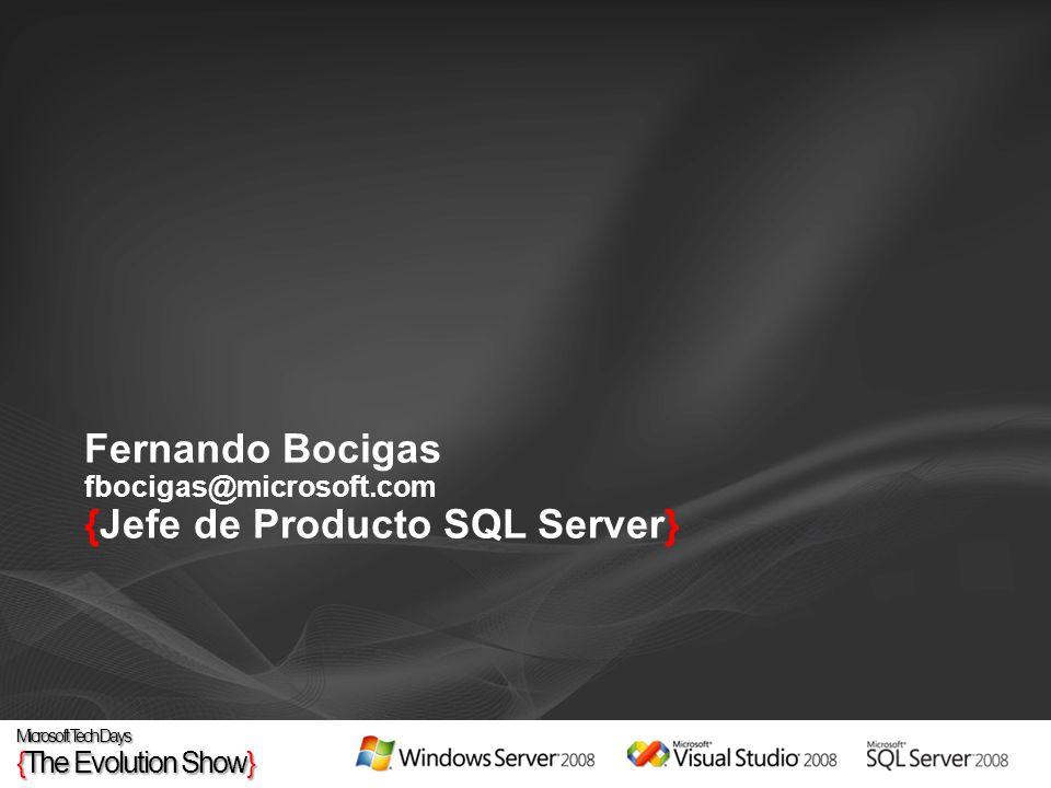 Home SQL Server 2008 http://www.microsoft.com/sql/2008/default.mspx http://www.microsoft.com/sql/2008/default.mspx http://www.microsoft.es/sql/2008 Webcasts, laboratorios virtuales y Whitepapers http://www.microsoft.com/sql/2008/learning/default.mspx http://www.microsoft.com/sql/2008/learning/default.mspx En inglés: http://www.microsoft.com/sqlserver/2008/en/us/events-webcasts.aspxhttp://www.microsoft.com/sqlserver/2008/en/us/events-webcasts.aspx En español: http://www.microsoft.com/spain/sql/2008/webcasts_ant.mspxhttp://www.microsoft.com/spain/sql/2008/webcasts_ant.mspx Formación en SQL Server 2008 http://www.microsoft.com/learning/sql/2008/default.mspx http://www.microsoft.com/learning/sql/2008/default.mspx Hands On Labs http://www.microsoft.com/spain/seminarios/hol.mspx Descarga de la RC0 http://www.microsoft.com/sql/2008/prodinfo/download.mspx http://www.microsoft.com/sql/2008/prodinfo/download.mspx Planifica el Upgrade a SQL Server 2008, el Mainstream Support para SQL Server 2000 SP4 y SQL Server 2005 SP1 ha finalizado