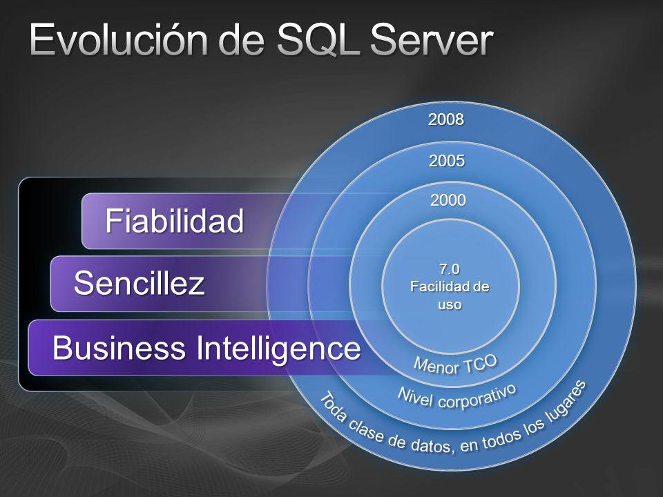 2008 2005 Fiabilidad Sencillez Business Intelligence 2000 7.0 Facilidad de uso