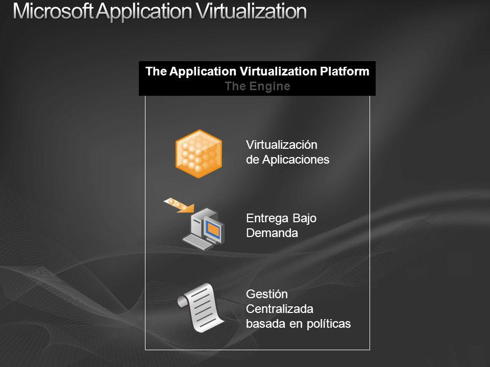 The Application Virtualization Platform The Engine Virtualización de Aplicaciones Entrega Bajo Demanda Gestión Centralizada basada en políticas
