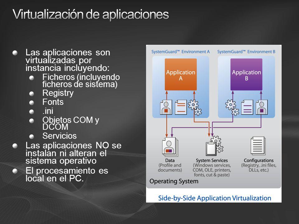 Las aplicaciones son virtualizadas por instancia incluyendo: Ficheros (incluyendo ficheros de sistema) Registry Fonts.ini Objetos COM y DCOM Servicios Las aplicaciones NO se instalan ni alteran el sistema operativo El procesamiento es local en el PC.