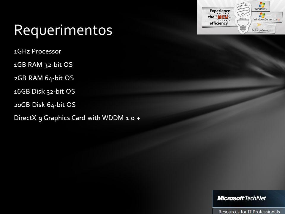 1GHz Processor 1GB RAM 32-bit OS 2GB RAM 64-bit OS 16GB Disk 32-bit OS 20GB Disk 64-bit OS DirectX 9 Graphics Card with WDDM 1.0 + Requerimentos