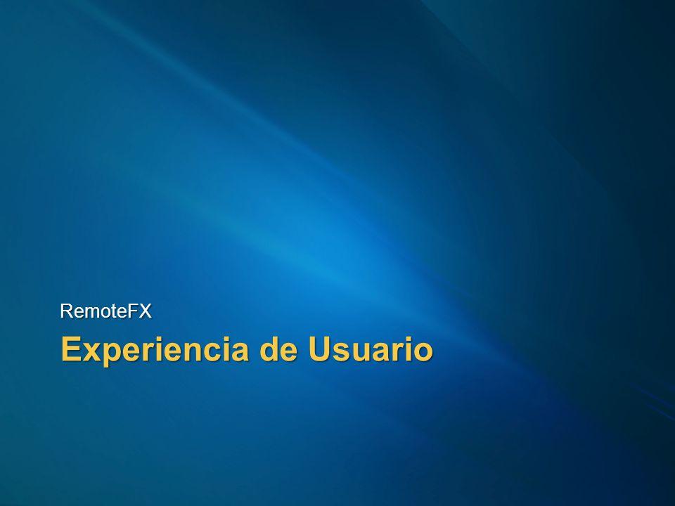 RemoteFX Experiencia de Usuario