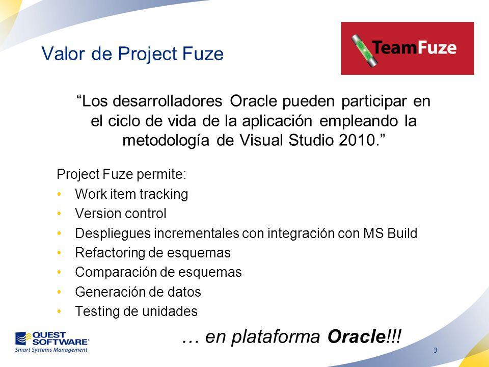 3 Valor de Project Fuze Los desarrolladores Oracle pueden participar en el ciclo de vida de la aplicación empleando la metodología de Visual Studio 2010.