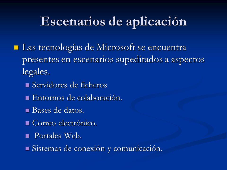 Escenarios de aplicación Las tecnologías de Microsoft se encuentra presentes en escenarios supeditados a aspectos legales.