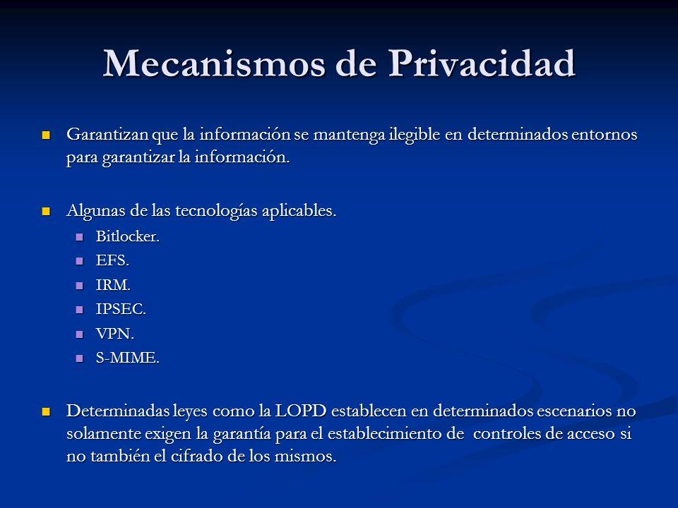 Mecanismos de Privacidad Garantizan que la información se mantenga ilegible en determinados entornos para garantizar la información.