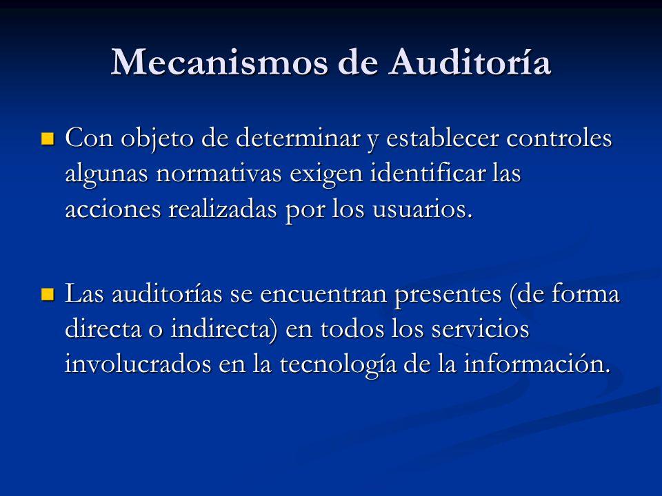 Mecanismos de Auditoría Con objeto de determinar y establecer controles algunas normativas exigen identificar las acciones realizadas por los usuarios.