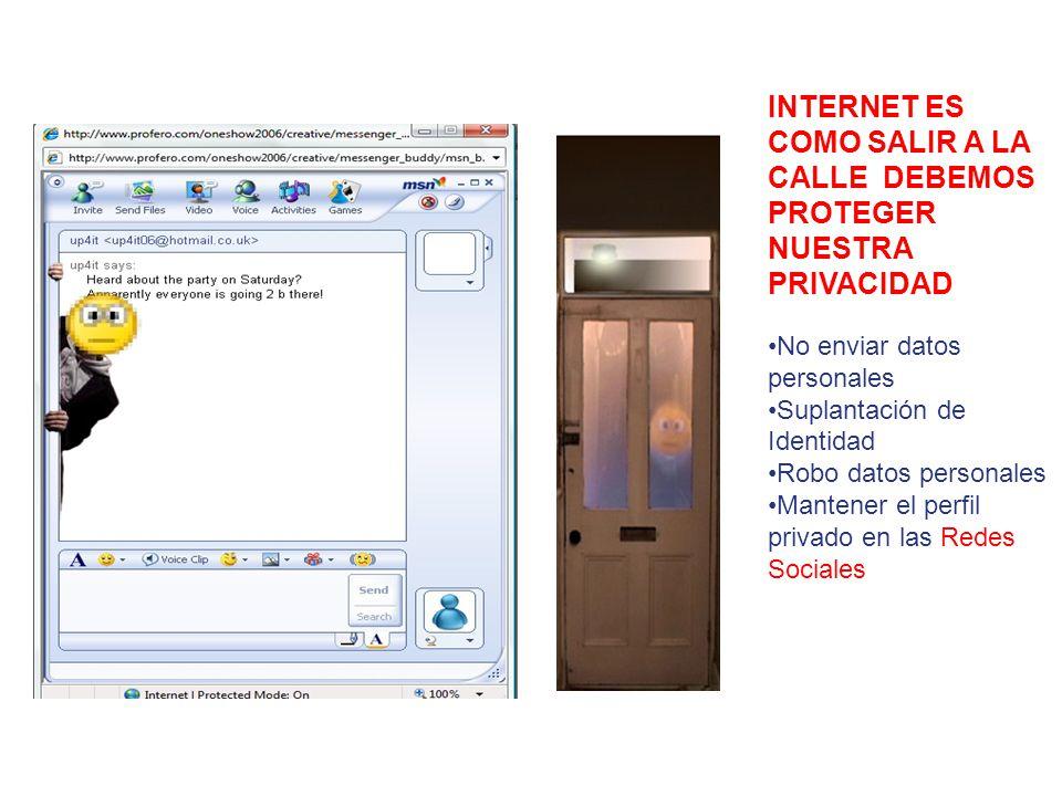 INTERNET ES COMO SALIR A LA CALLE DEBEMOS PROTEGER NUESTRA PRIVACIDAD No enviar datos personales Suplantación de Identidad Robo datos personales Mantener el perfil privado en las Redes Sociales