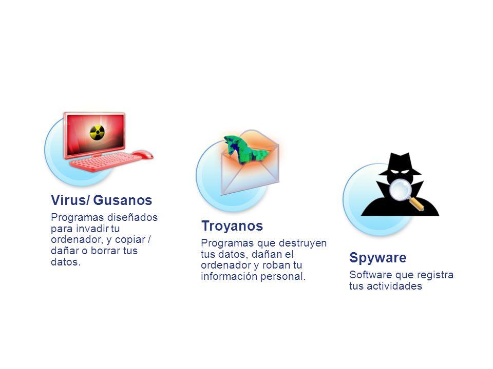 Virus/ Gusanos Programas diseñados para invadir tu ordenador, y copiar / dañar o borrar tus datos. Troyanos Programas que destruyen tus datos, dañan e