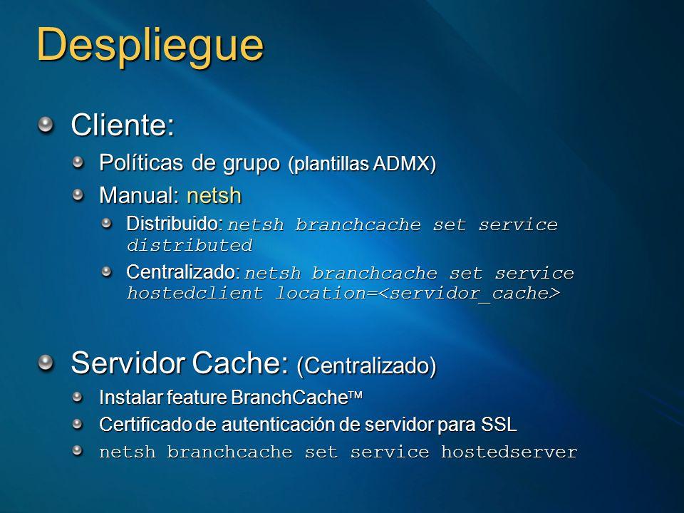 Cliente: Políticas de grupo (plantillas ADMX) Manual: netsh Distribuido: netsh branchcache set service distributed Centralizado: netsh branchcache set