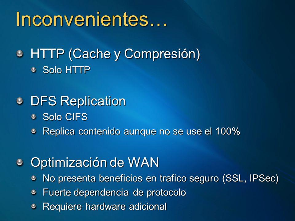 Inconvenientes… HTTP (Cache y Compresión) Solo HTTP DFS Replication Solo CIFS Replica contenido aunque no se use el 100% Optimización de WAN No presenta beneficios en trafico seguro (SSL, IPSec) Fuerte dependencia de protocolo Requiere hardware adicional