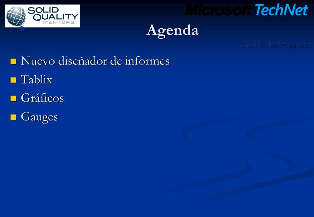 Agenda Nuevo diseñador de informes Nuevo diseñador de informes Tablix Tablix Gráficos Gráficos Gauges Gauges Tipos de datos espaciales