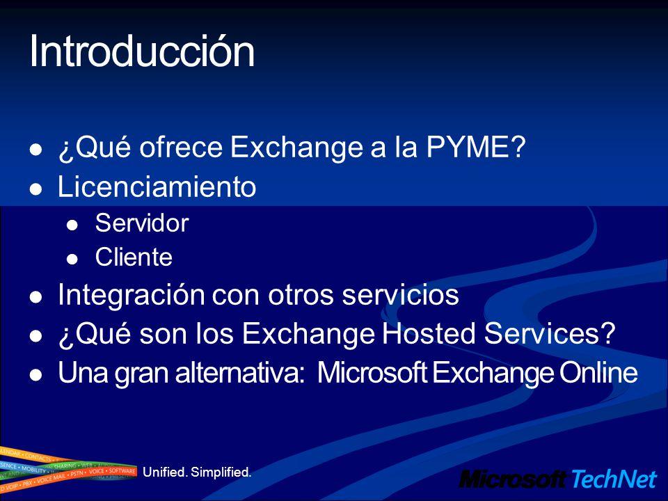 Unified. Simplified. Introducción ¿Qué ofrece Exchange a la PYME? Licenciamiento Servidor Cliente Integración con otros servicios ¿Qué son los Exchang