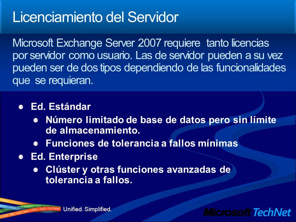 Unified. Simplified. Licenciamiento del Servidor Ed. Estándar Número limitado de base de datos pero sin límite de almacenamiento. Funciones de toleran