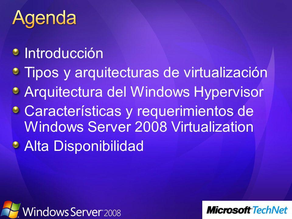 Hardware Arquitectura x64 (no IA64) Virtualización asistida por hardware AMD-V o Intel-VT Date Execution Prevention (DEP) en el hardware Intel XD (Execution Disabled) AMD NX (no Execute bit) NOTA: La BIOS debe soportar y tener habilitadas estas opciones.