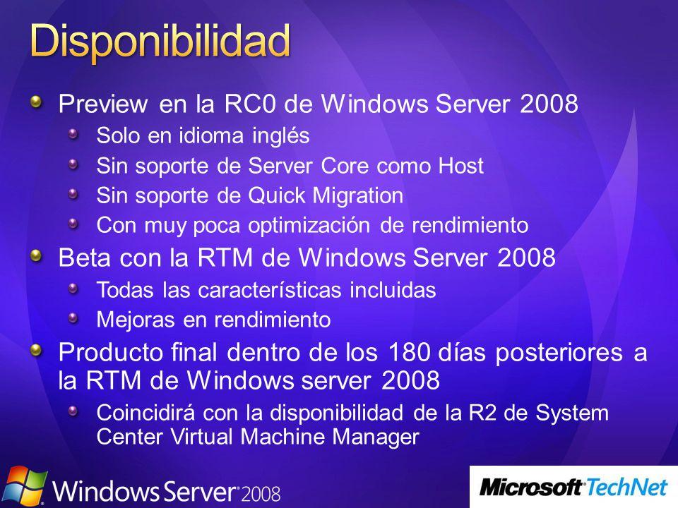 Preview en la RC0 de Windows Server 2008 Solo en idioma inglés Sin soporte de Server Core como Host Sin soporte de Quick Migration Con muy poca optimi