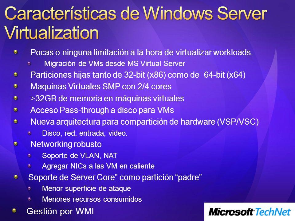 Pocas o ninguna limitación a la hora de virtualizar workloads. Migración de VMs desde MS Virtual Server Particiones hijas tanto de 32-bit (x86) como d