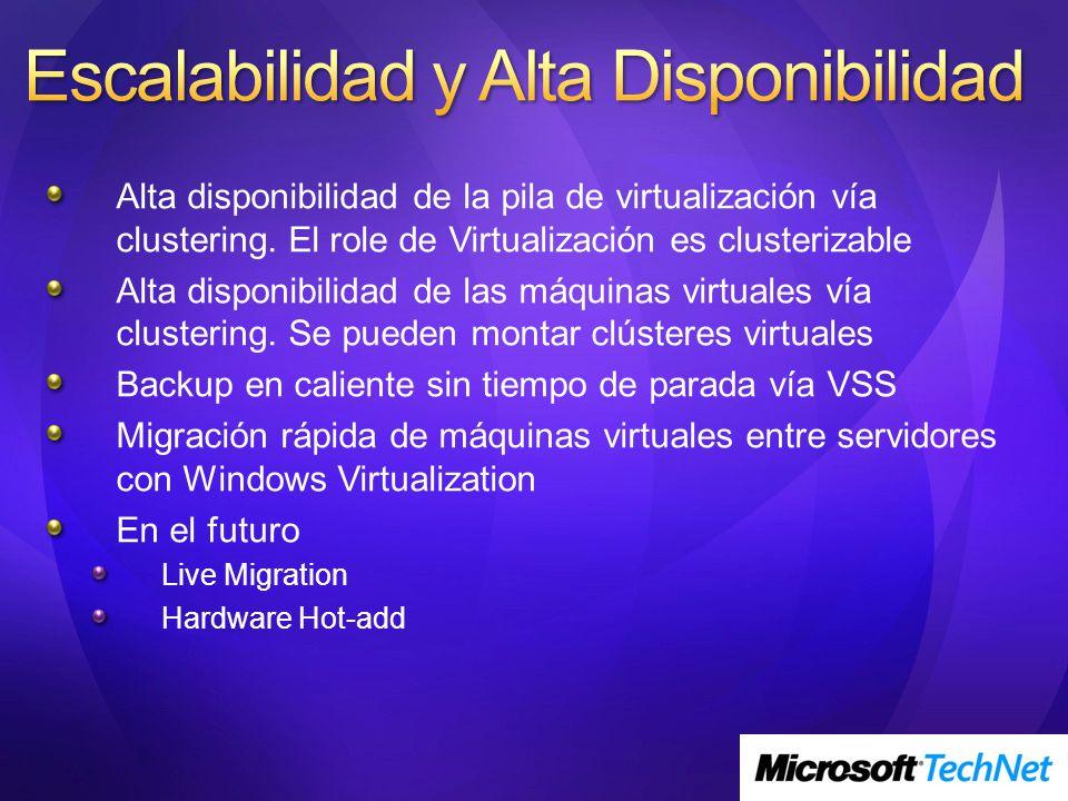 Alta disponibilidad de la pila de virtualización vía clustering. El role de Virtualización es clusterizable Alta disponibilidad de las máquinas virtua