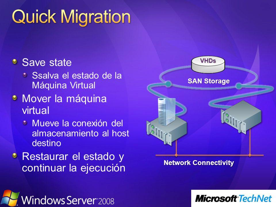 Save state Ssalva el estado de la Máquina Virtual Mover la máquina virtual Mueve la conexión del almacenamiento al host destino Restaurar el estado y
