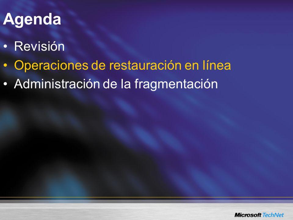 Agenda Revisión Operaciones de restauración en línea Administración de la fragmentación
