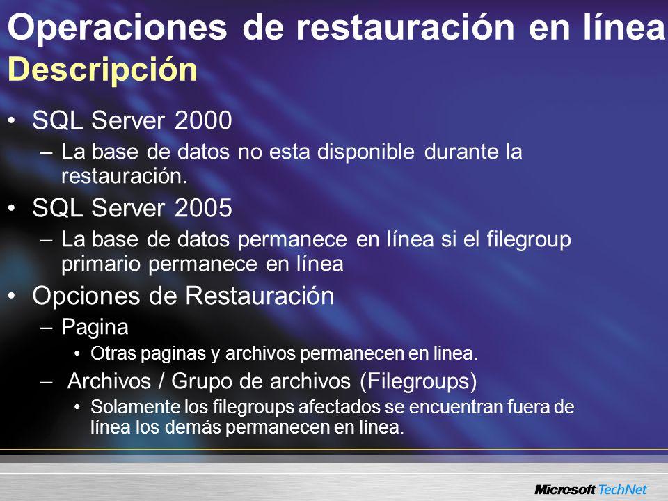 Operaciones de restauración en línea Descripción SQL Server 2000 –La base de datos no esta disponible durante la restauración.