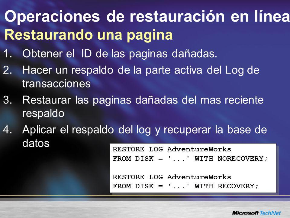 Operaciones de restauración en línea Restaurando una pagina 1.Obtener el ID de las paginas dañadas.