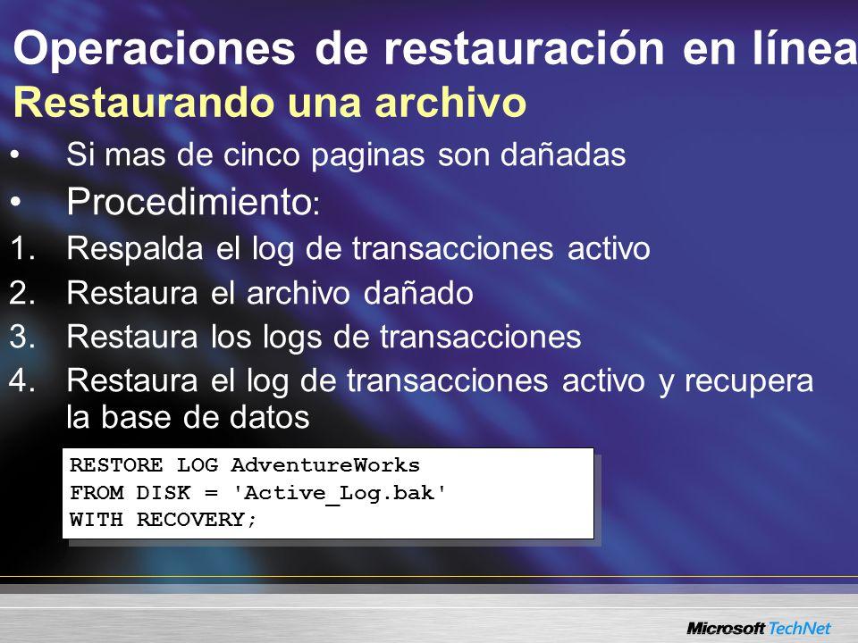 Operaciones de restauración en línea Restaurando una archivo Si mas de cinco paginas son dañadas Procedimiento : 1.Respalda el log de transacciones activo 2.Restaura el archivo dañado 3.Restaura los logs de transacciones 4.Restaura el log de transacciones activo y recupera la base de datos RESTORE LOG AdventureWorks FROM DISK = Active_Log.bak WITH RECOVERY; RESTORE LOG AdventureWorks FROM DISK = Active_Log.bak WITH RECOVERY;