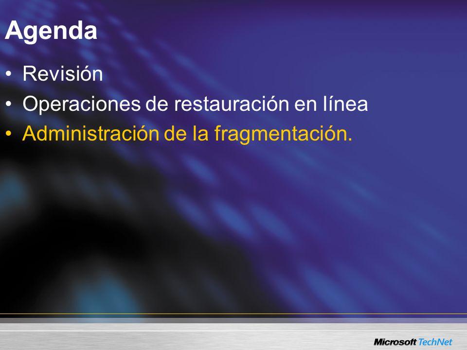 Agenda Revisión Operaciones de restauración en línea Administración de la fragmentación.