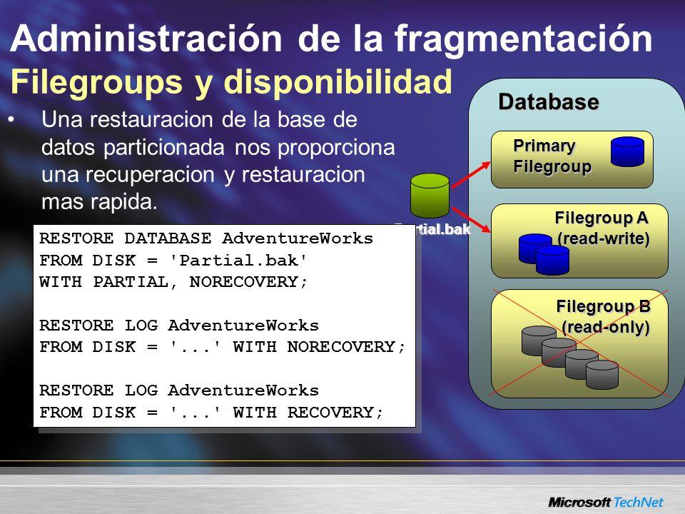Administración de la fragmentación Filegroups y disponibilidad Una restauracion de la base de datos particionada nos proporciona una recuperacion y restauracion mas rapida.