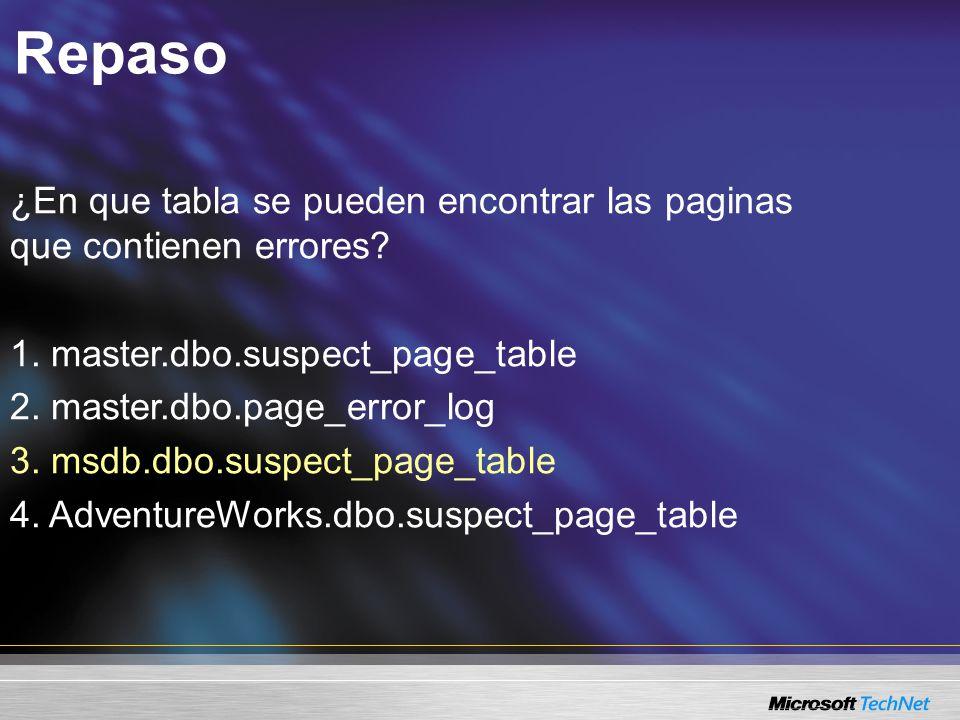 Repaso ¿En que tabla se pueden encontrar las paginas que contienen errores.