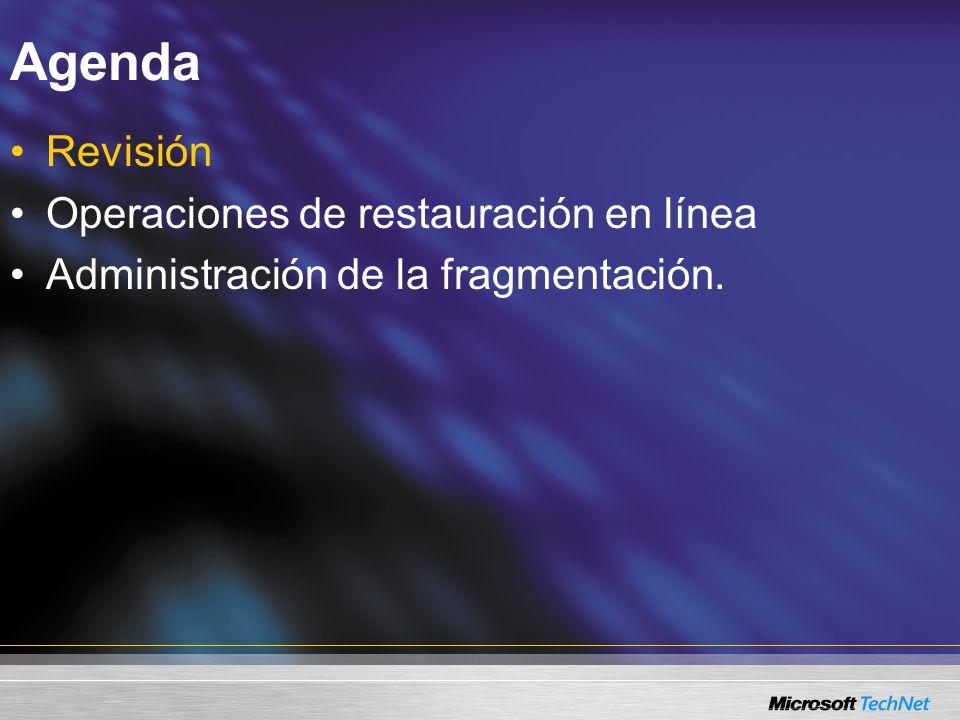 Revisión Mejoras en la indexación Declaraciones ALTER INDEX Operaciones de indexación en línea.