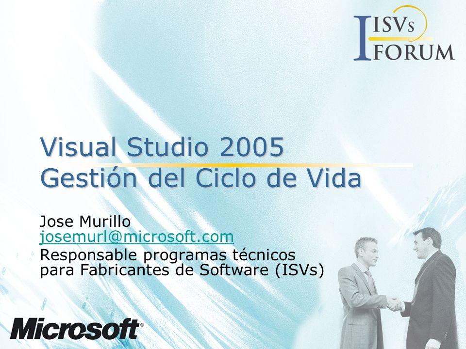 Agenda Visual Studio 2.005 –Novedades Soporte a diferentes roles –Jefe de Proyecto –Arquitecto de Software y Sistemas –Desarrollador –Equipos de Pruebas Conclusiones…