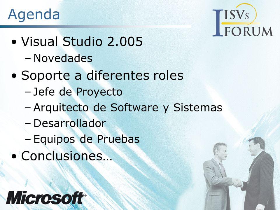 Visual Studio 2005 Mayor Productividad Marca un nuevo máximo en productividad Hasta un 70% menos de código Nuevas herramientas diseñadas para desarrolladores Web y de VB6 Trabajo en equipo y Colaboración Gestión completa del ciclo de vida de desarr.