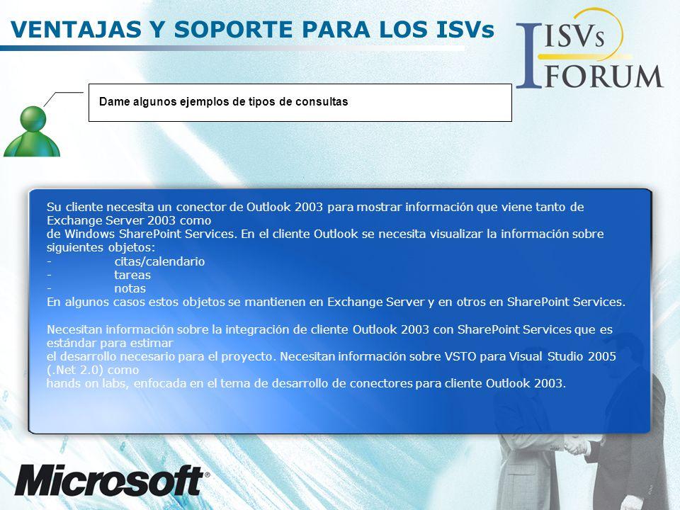 VENTAJAS Y SOPORTE PARA LOS ISVs Su cliente necesita un conector de Outlook 2003 para mostrar información que viene tanto de Exchange Server 2003 como de Windows SharePoint Services.
