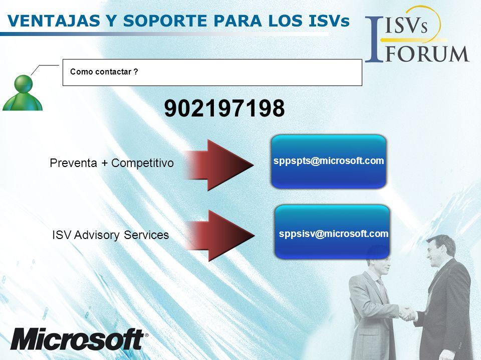 VENTAJAS Y SOPORTE PARA LOS ISVs Como contactar .