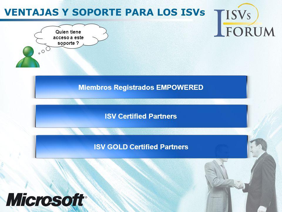 VENTAJAS Y SOPORTE PARA LOS ISVs Miembros Registrados EMPOWERED Quien tiene acceso a este soporte .