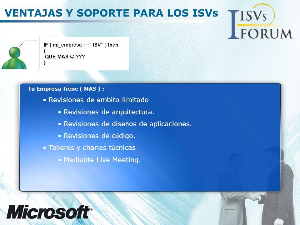 VENTAJAS Y SOPORTE PARA LOS ISVs Tu Empresa Tiene ( MAS ) : Revisiones de á mbito limitado Revisiones de arquitectura.