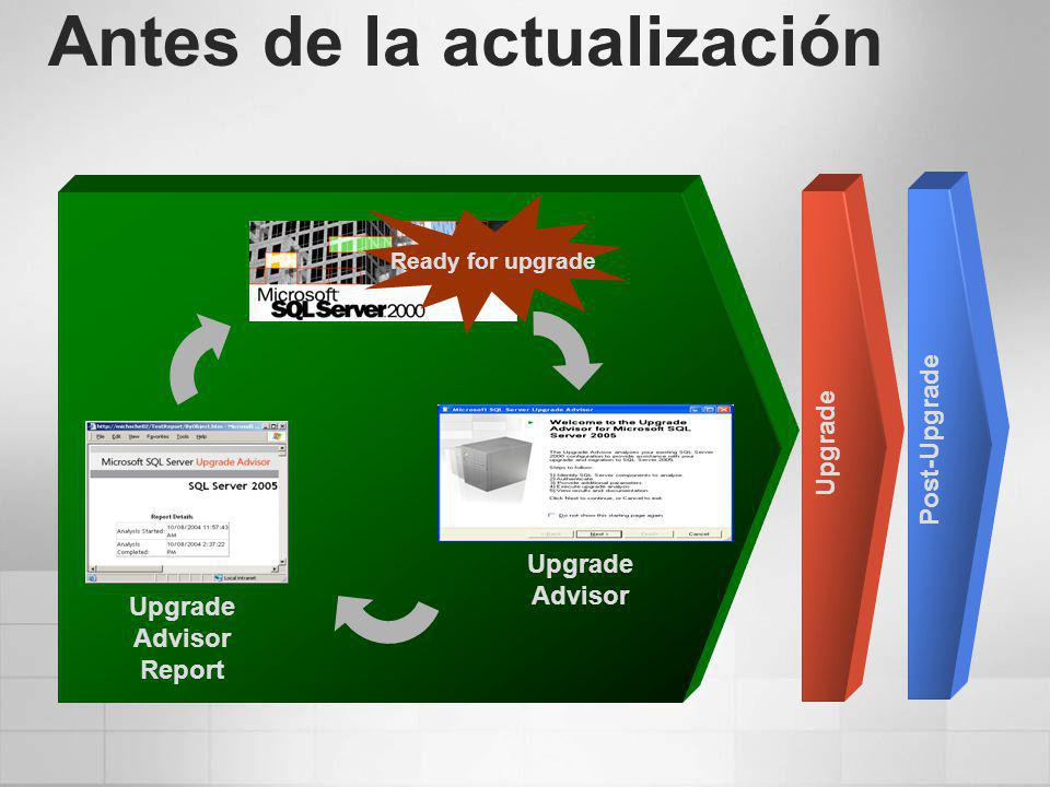 Antes de la actualización Upgrade Advisor Report Upgrade Post-Upgrade Ready for upgrade Upgrade Advisor