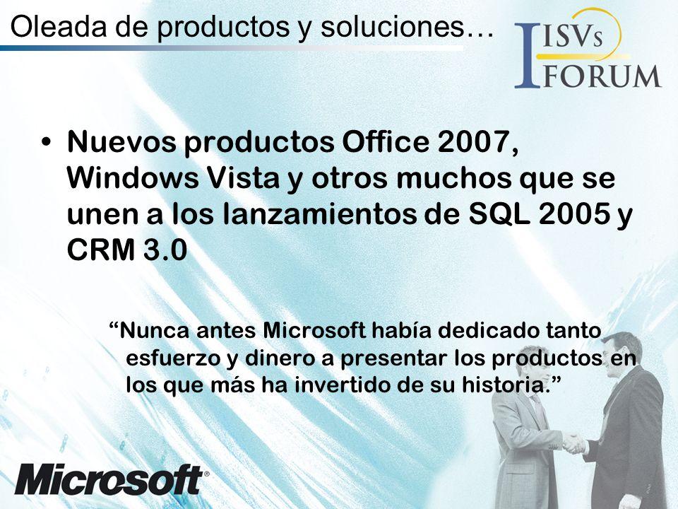 Oleada de productos y soluciones… Nuevos productos Office 2007, Windows Vista y otros muchos que se unen a los lanzamientos de SQL 2005 y CRM 3.0 Nunca antes Microsoft había dedicado tanto esfuerzo y dinero a presentar los productos en los que más ha invertido de su historia.