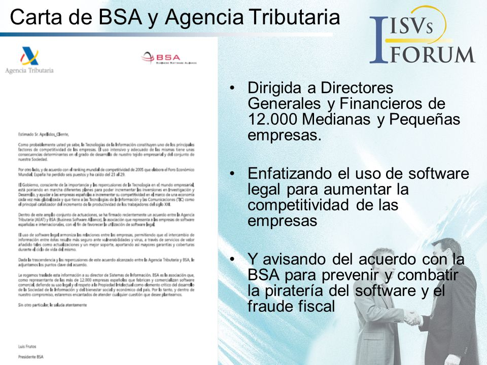 Carta de BSA y Agencia Tributaria Dirigida a Directores Generales y Financieros de 12.000 Medianas y Pequeñas empresas.