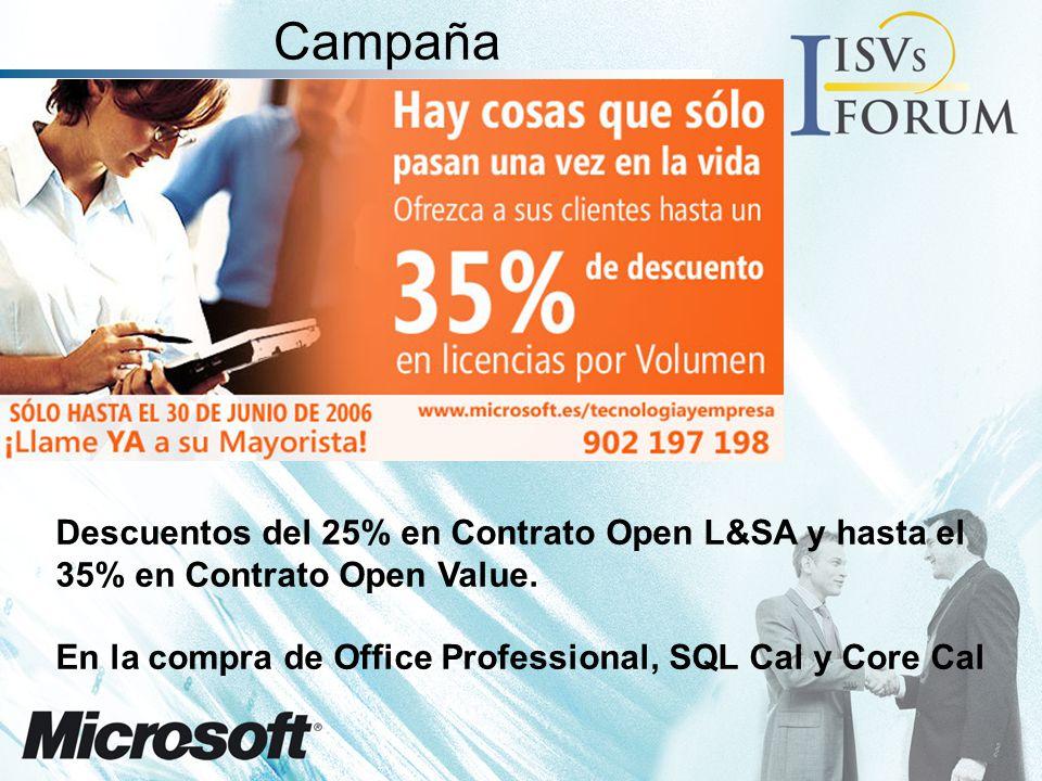 Campaña Descuentos del 25% en Contrato Open L&SA y hasta el 35% en Contrato Open Value.