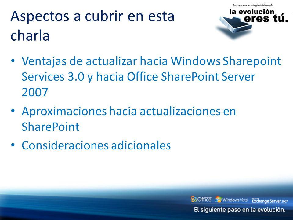 Ventajas de actualizar hacia Windows Sharepoint Services 3.0 y hacia Office SharePoint Server 2007 Aproximaciones hacia actualizaciones en SharePoint Consideraciones adicionales Aspectos a cubrir en esta charla