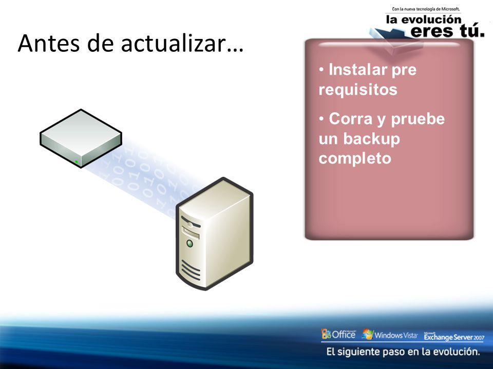 Antes de actualizar… Instalar pre requisitos Corra y pruebe un backup completo