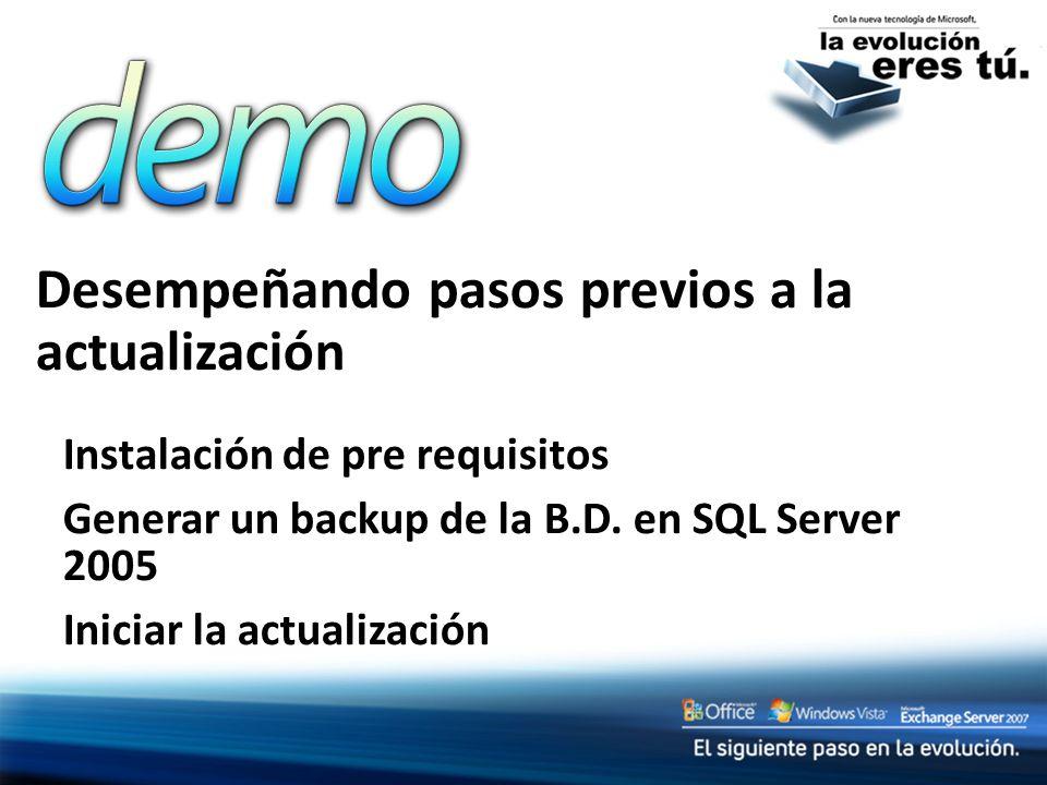 Desempeñando pasos previos a la actualización Instalación de pre requisitos Generar un backup de la B.D.