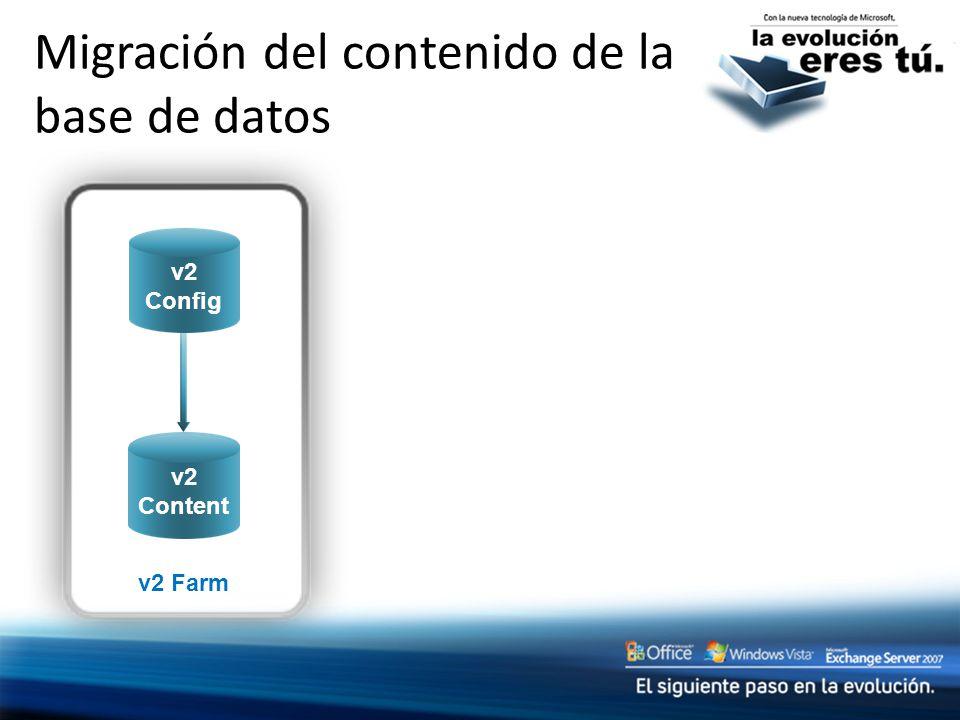 v2 Content v2 Farm v2 Content Migración del contenido de la base de datos v2 Config