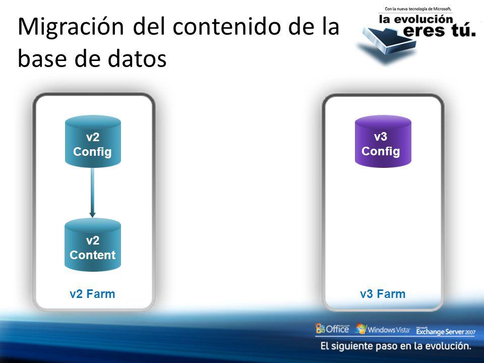 v2 Content v3 Farm v2 Farm v2 Content Migración del contenido de la base de datos v2 Config v3 Config