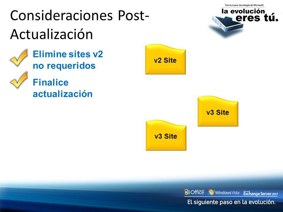 Consideraciones Post- Actualización v2 Sitev3 Site Elimine sites v2 no requeridos Finalice actualización
